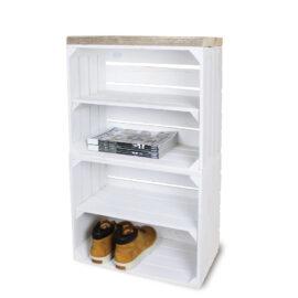 Schrank hoch aus Obstkisten weiß mit weißen Regalbett lang 2