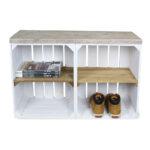 Schrank aus Obstkisten weiß mit einem altem Regalbett 2