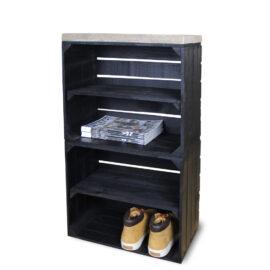 Schrank hoch aus Obstkisten schwarz mit einem schwarzen Regalbett lang 2