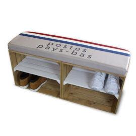 Schuhschrank Braun-Weiß mit Sitzkissen
