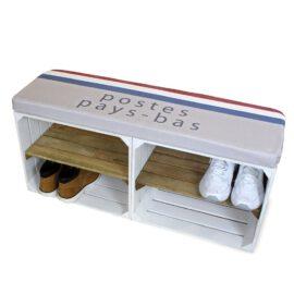 Schuhschrank weiß-Braun mit Sitzkissen